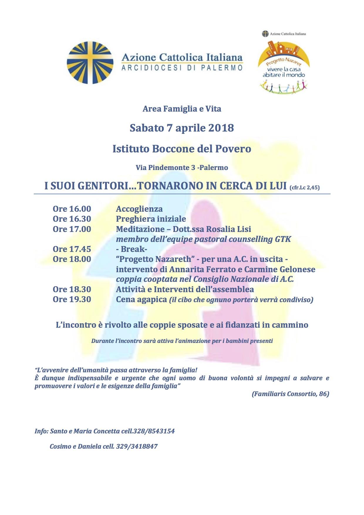 """Incontro Area Famiglia e Vita """"I SUOI GENITORI…TORNARONO IN CERCA DI LUI (cfr.Lc 2,45)"""" ."""